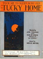 """Sheet music of the song """"Tuck Me to Sleep in My Old Tucky Home"""" published in 1921"""