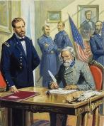 Illustration of Grant and Lee at Appomattox