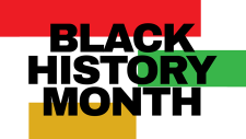 The words Black History Month over green, red and gold stripes