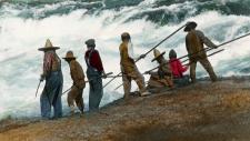 People fishing at Celilo Falls