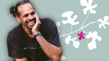 Image of Ross Gay with a leafy background