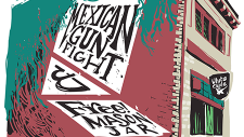 The words Free! Mason Jar and Mexican Gunfight live on a building in the library logo