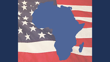 Map of Africa and American flag