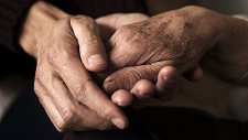 Person holding the hands of an older person