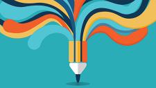 Pencil with colorful streams