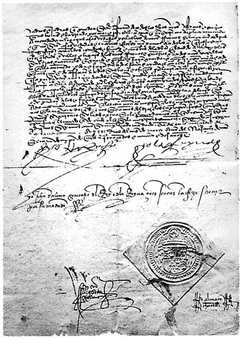 A copy of the 1492 Alhambra Decree, which required Jews to convert to Christianity, or be expelled from Spain. [Wikimedia Commons]