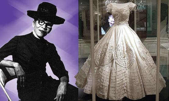 Photo of Anne Lowe and the wedding dress she designed for Jacqueline Kennedy. Source Women's World