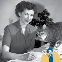 Beverly Cleary with a cat, small image of Ramona Quimby in corner