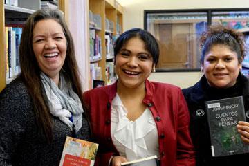 Ana Morillo, MCL Staff, with Día volunteers Claudia Ramirez-Cisneros and Francisca Ixtepán