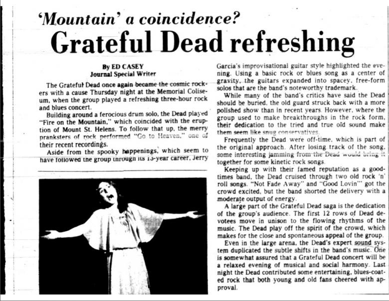 Newspaper article about the Grateful Dead