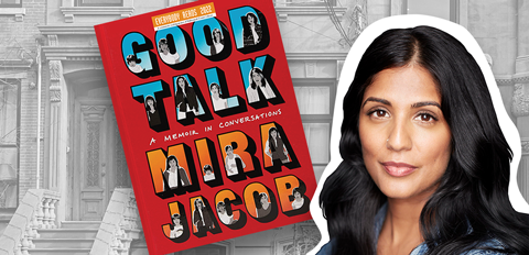 Author Mira Jacob and cover of Good Talk