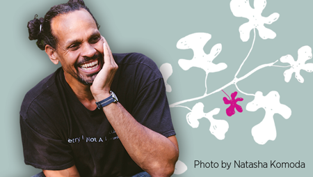 Author Ross Gay, cover of The Book of Delights, photo copyright Natasha Komod