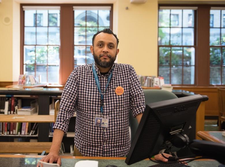 Librarian Eddie Arizaga