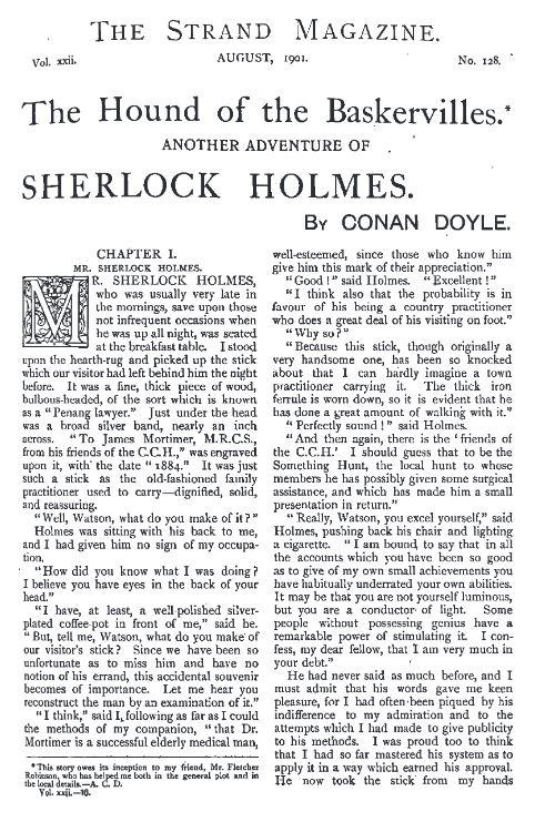 The first page of The Hound of the Baskervilles, from The Strand Magazine