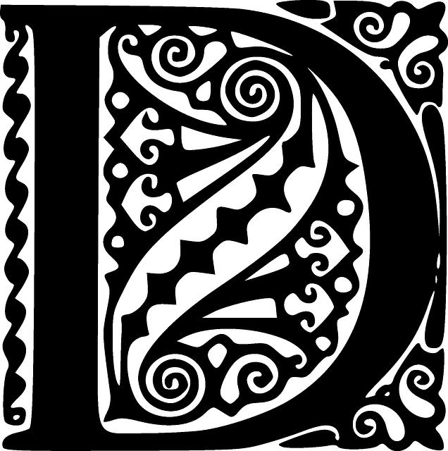 The letter D in ornamental script