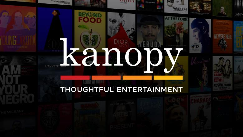 Kanopy banner. Reads: Kanopy, thoughtful entertainment
