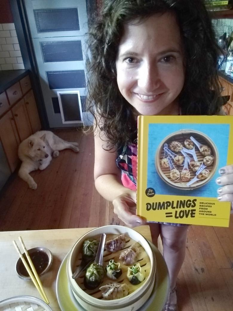 Author Liz Crain and her cookbooks Dumplings Equal Love