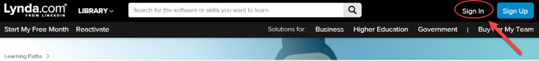 Image showing to click on Sign In on Lynda.com website