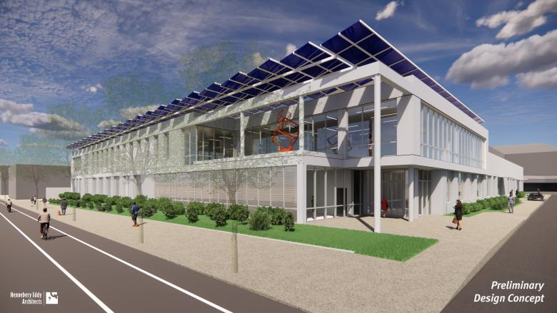 Preliminary rendering of new library operations center