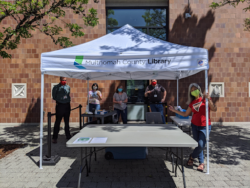 Staff at Midland Library working for summer lunch program