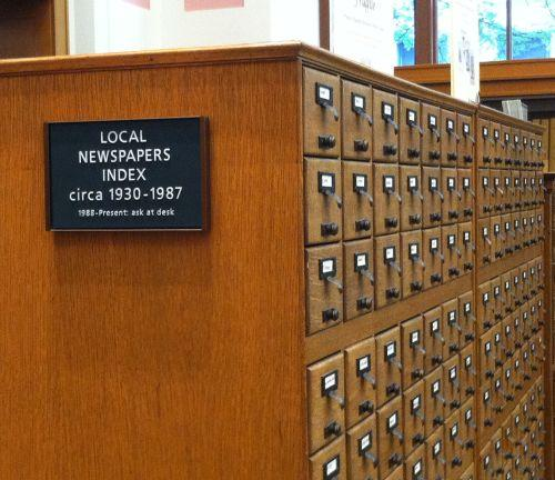 photograph of the Local Newspapers Index at Central Library