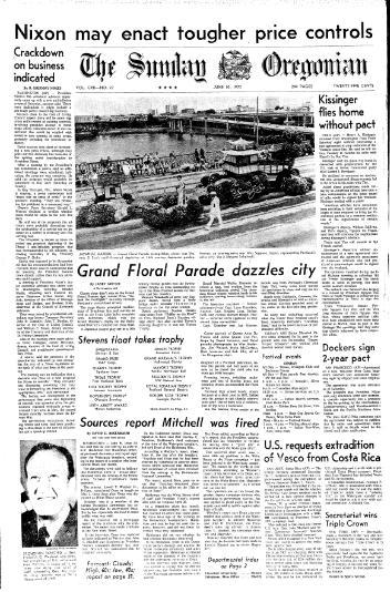 Front page of the Oregonian, June 10, 1973