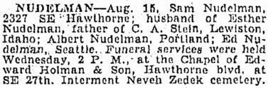 Funeral notice for Sam Nudelman, from the Aug. 17, 1944 Oregonian