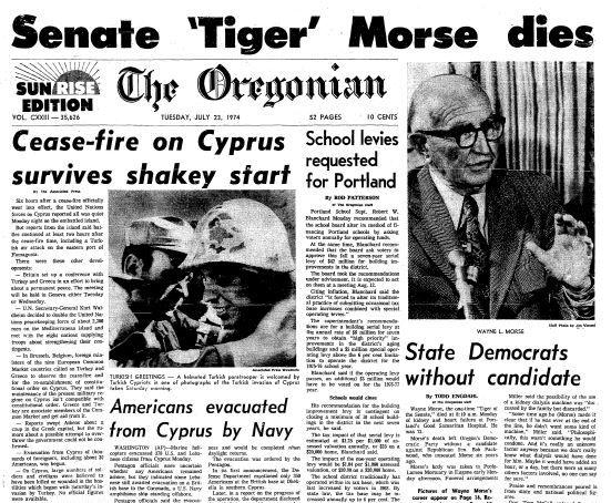 Front page of the July 23, 1974 Oregonian, with an article about the death of Sen. Wayne Morse