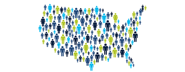 Map of United States with people in it, link to information on 2020 Census