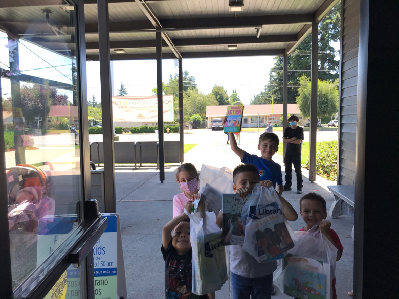 Kids lined up for summer lunch program at Rockwood Library