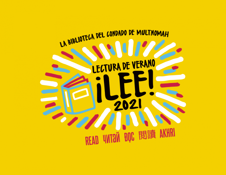 Logo para la Lectura de Verano 2021, un rectángulo amarillo con un libro y la palabra 'lee' en cinco idiomas.