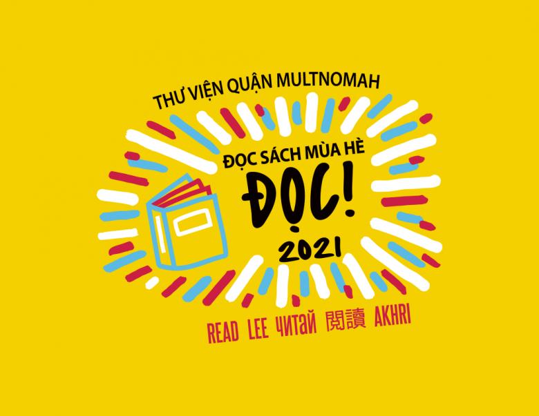 Biểu tượng chương trình Đọc Sách Mùa Hè 2021, hình chữ nhật màu vàng với một cuốn sách và chữ Đọc bằng năm ngôn ngữ.