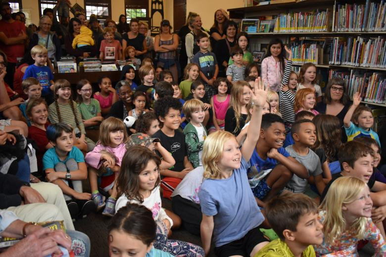 A crowd pictured at an event at St. Johns Library
