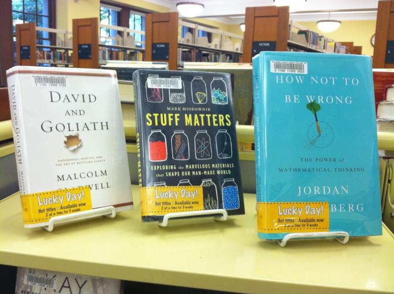 Popular science books on the Lucky Day shelf at Central Library