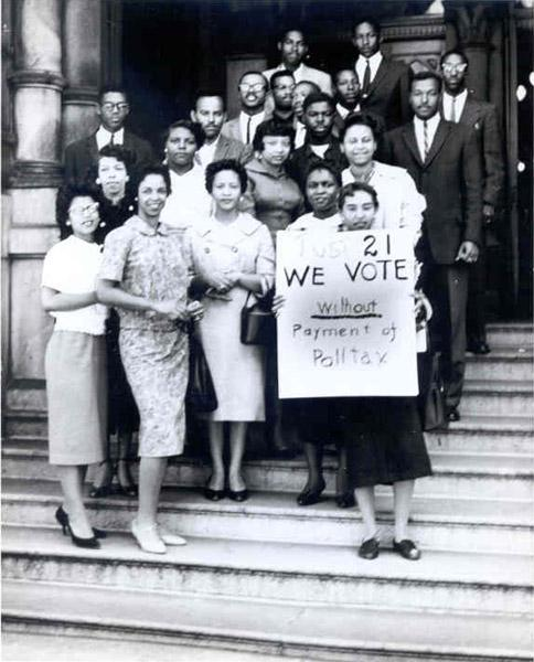 Virginia Union University students protest the poll tax, Richmond, VA. Date: ca. 1950 Collection: L. Douglas Wilder Library, Virginia Union University.