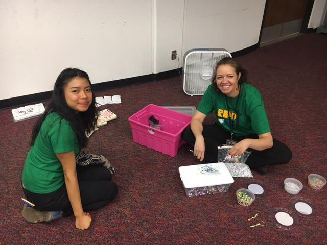 Library outreach staff helping out at the fire shelter.