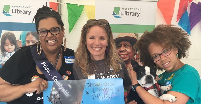 Library staff and friends at Pride