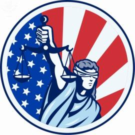 Drawing of Lady Justice in front of an American flag.