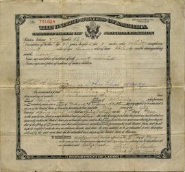 Dohes Elias Haney's naturalization certificate, 1917