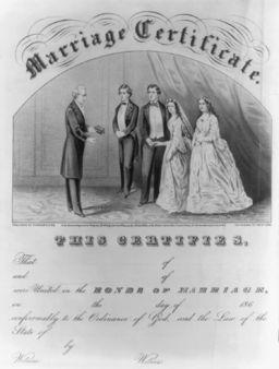 19th century marriage certificate
