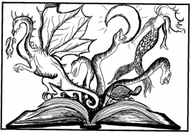 black and white design showing an open book, with dragons, snakes, and a turtle magically coming out of the pages
