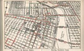 """Car Lines in the Business District, Showing Downtown Loops,"" from Byington's New Nonpareil Guide to Portland, 1944."