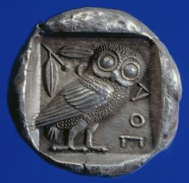 Athena's owl on a Greek coin, circa 450 BC. From the British Museum