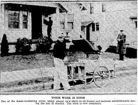 House numbering crews at work (photo from the Oregonian 16 July 1933)