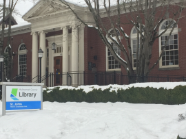 St Johns Library in the snow