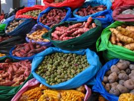 photo of potatoes and other vegetables at a market