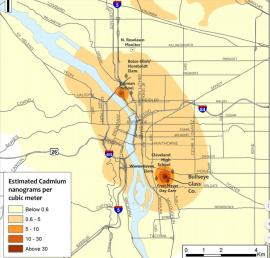 DEQ map of Air Toxicity in Portland, OR