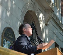 Kim Stafford reading in front of Central Library