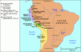 Map of Latin America, Inca Empire, 15th century