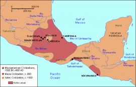 Map of Mesoamerica, Aztecs, 14th-15th centuries